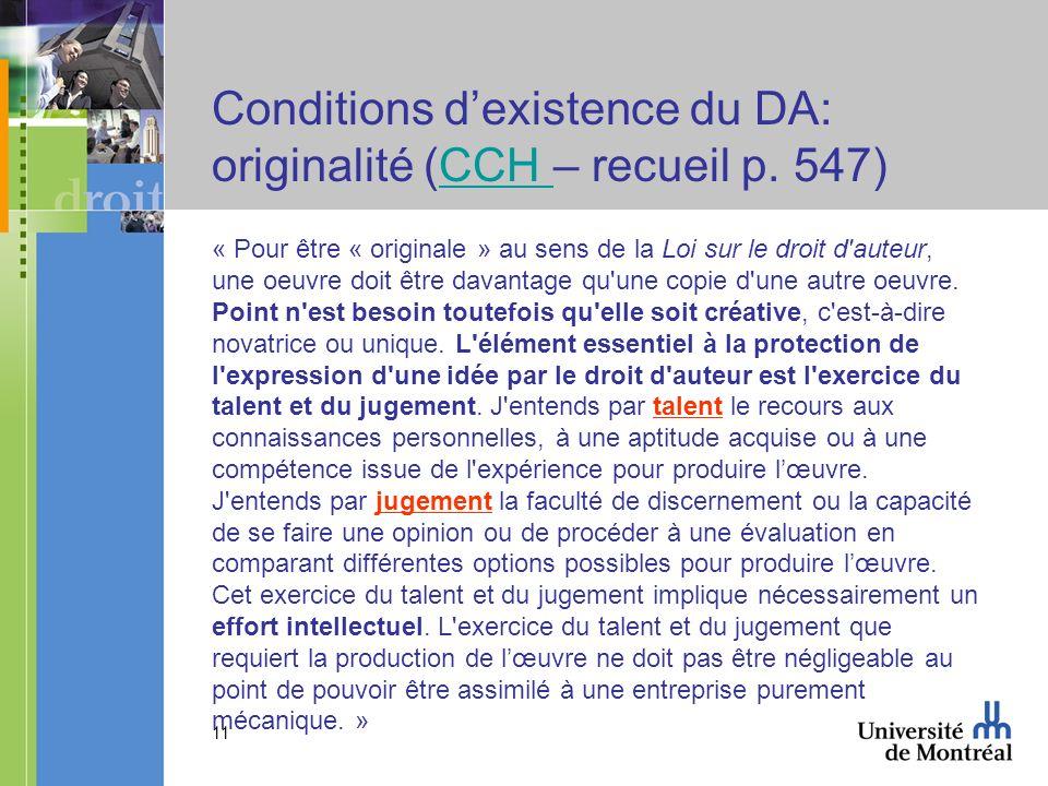 11 Conditions dexistence du DA: originalité (CCH – recueil p.