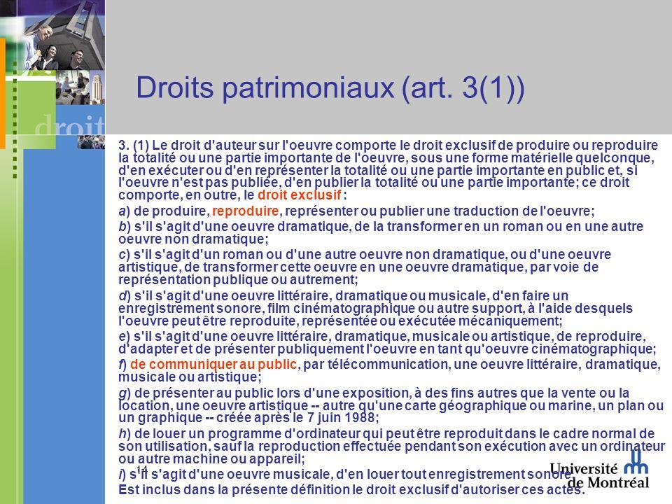 14 Droits patrimoniaux (art. 3(1)) 3.