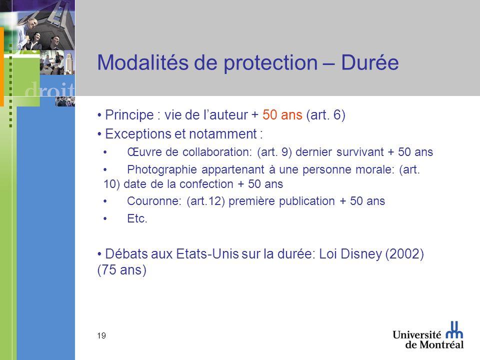 19 Modalités de protection – Durée Principe : vie de lauteur + 50 ans (art.