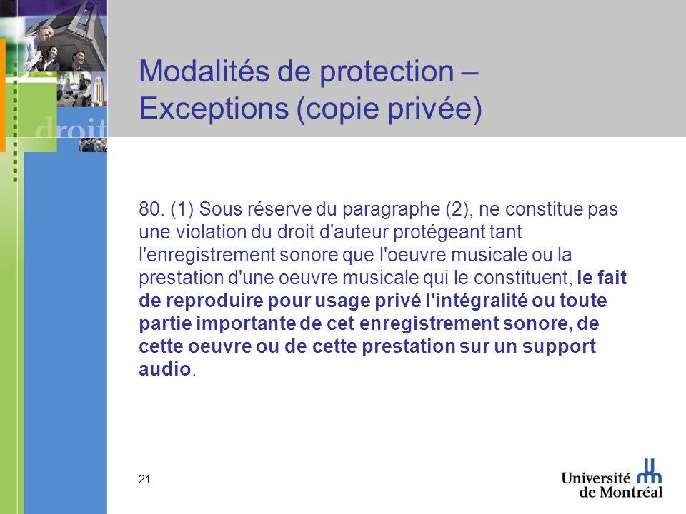 21 Modalités de protection – Exceptions (copie privée) 80.