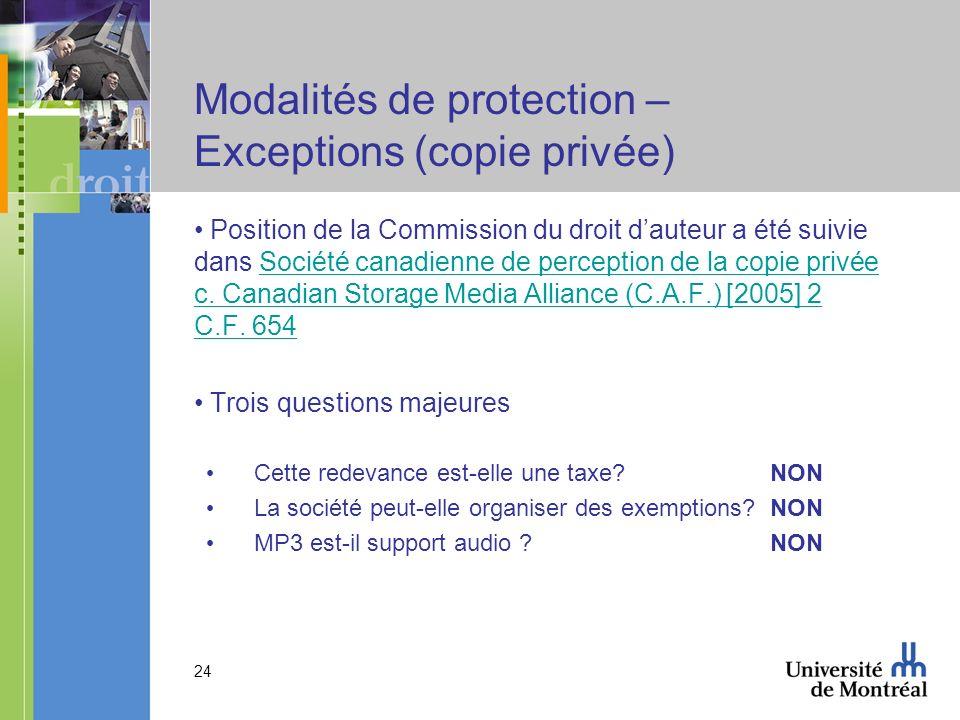 24 Modalités de protection – Exceptions (copie privée) Position de la Commission du droit dauteur a été suivie dans Société canadienne de perception de la copie privée c.