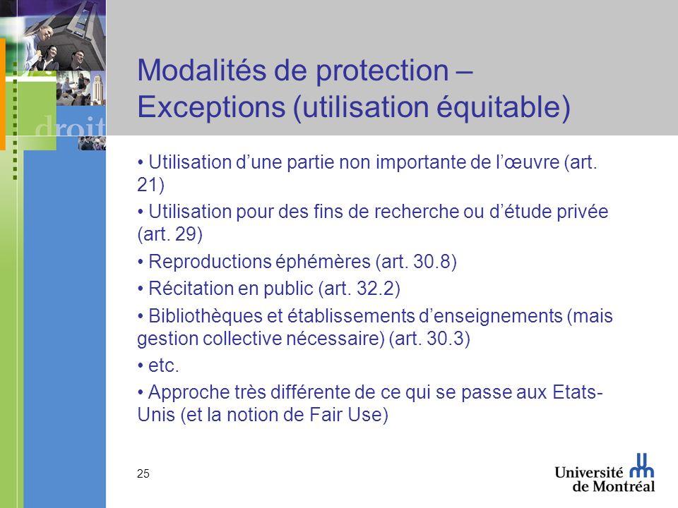 25 Modalités de protection – Exceptions (utilisation équitable) Utilisation dune partie non importante de lœuvre (art.