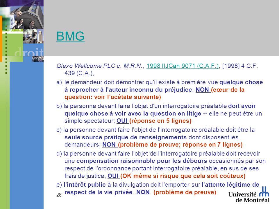 28 BMG Glaxo Wellcome PLC c. M.R.N., 1998 IIJCan 9071 (C.A.F.), [1998] 4 C.F.