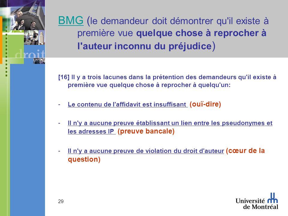 29 BMGBMG ( le demandeur doit démontrer qu il existe à première vue quelque chose à reprocher à l auteur inconnu du préjudice ) [16] Il y a trois lacunes dans la prétention des demandeurs qu il existe à première vue quelque chose à reprocher à quelqu un: -Le contenu de l affidavit est insuffisant (ouï-dire) -Il n y a aucune preuve établissant un lien entre les pseudonymes et les adresses IP (preuve bancale) -Il n y a aucune preuve de violation du droit d auteur (cœur de la question)