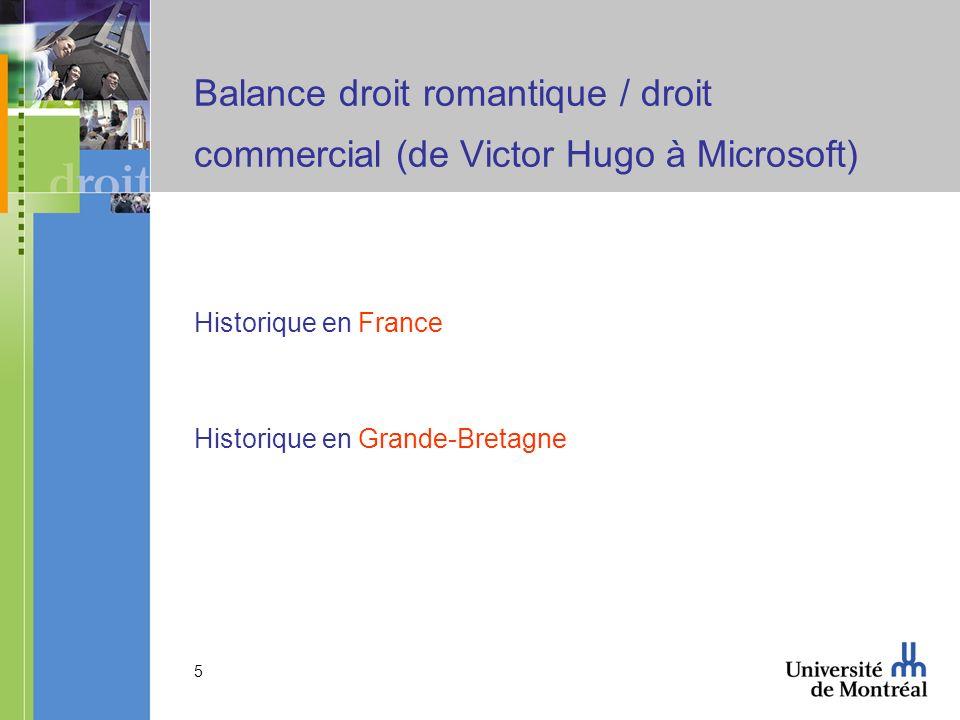 5 Balance droit romantique / droit commercial (de Victor Hugo à Microsoft) Historique en France Historique en Grande-Bretagne