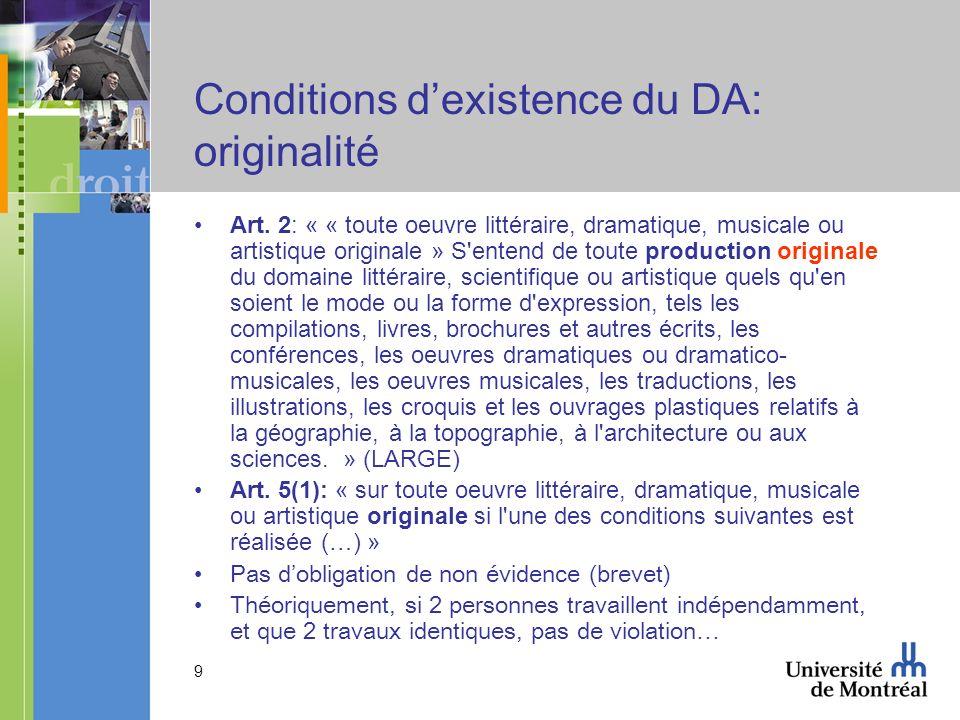 10 Conditions dexistence du DA: originalité Feist Publications Inc.