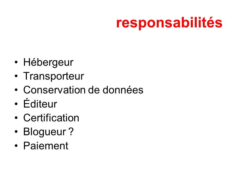 responsabilités Hébergeur Transporteur Conservation de données Éditeur Certification Blogueur ? Paiement