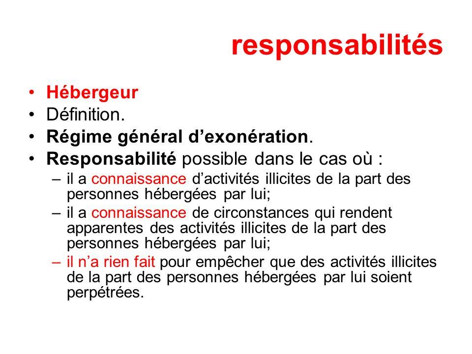 responsabilités Hébergeur Définition. Régime général dexonération.
