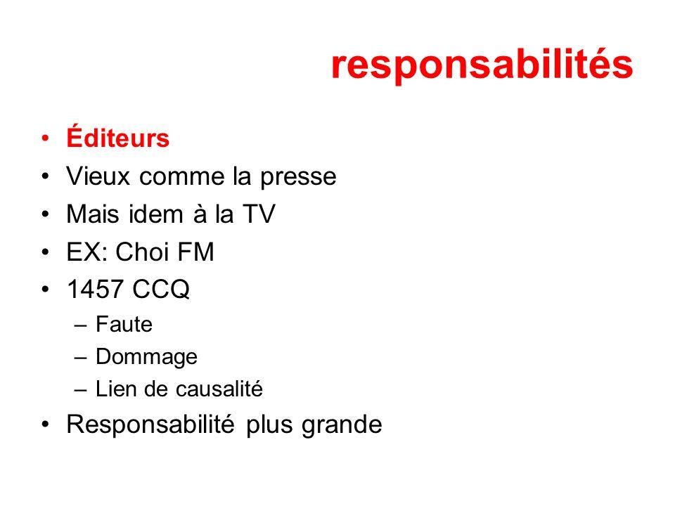 responsabilités Éditeurs Vieux comme la presse Mais idem à la TV EX: Choi FM 1457 CCQ –Faute –Dommage –Lien de causalité Responsabilité plus grande