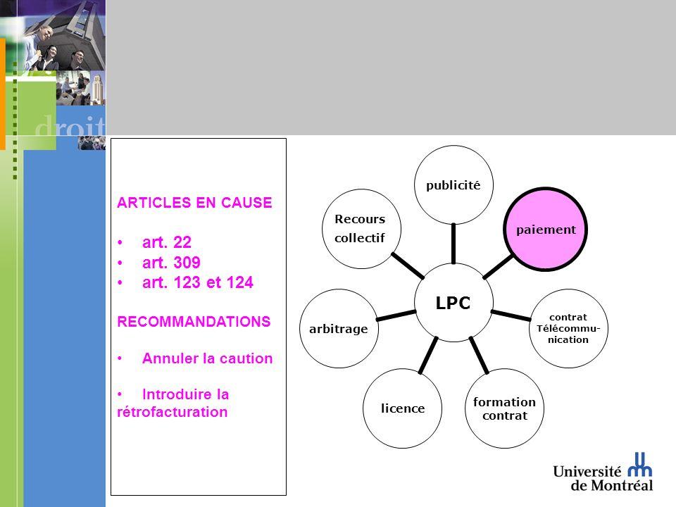 LPC publicitépaiement contrat Télécommu- nication formation contrat licencearbitrage Recours collectif ARTICLES EN CAUSE art. 22 art. 309 art. 123 et