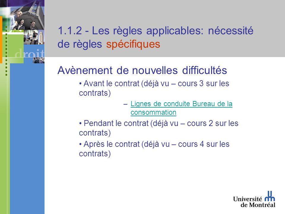 1.1.2 - Les règles applicables: nécessité de règles spécifiques Avènement de nouvelles difficultés Avant le contrat (déjà vu – cours 3 sur les contrat