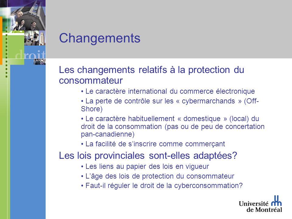 Changements Les changements relatifs à la protection du consommateur Le caractère international du commerce électronique La perte de contrôle sur les