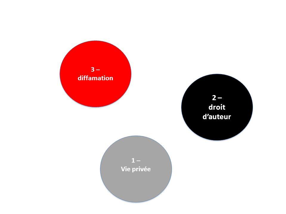 3 – diffamation 3 – diffamation 1 – Vie privée 1 – Vie privée 2 – droit dauteur 2 – droit dauteur