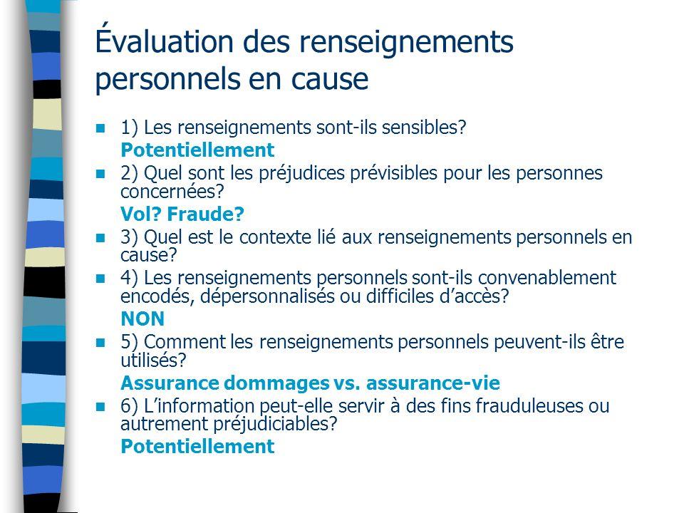 Évaluation des renseignements personnels en cause 1) Les renseignements sont ils sensibles? Potentiellement 2) Quel sont les préjudices prévisibles po