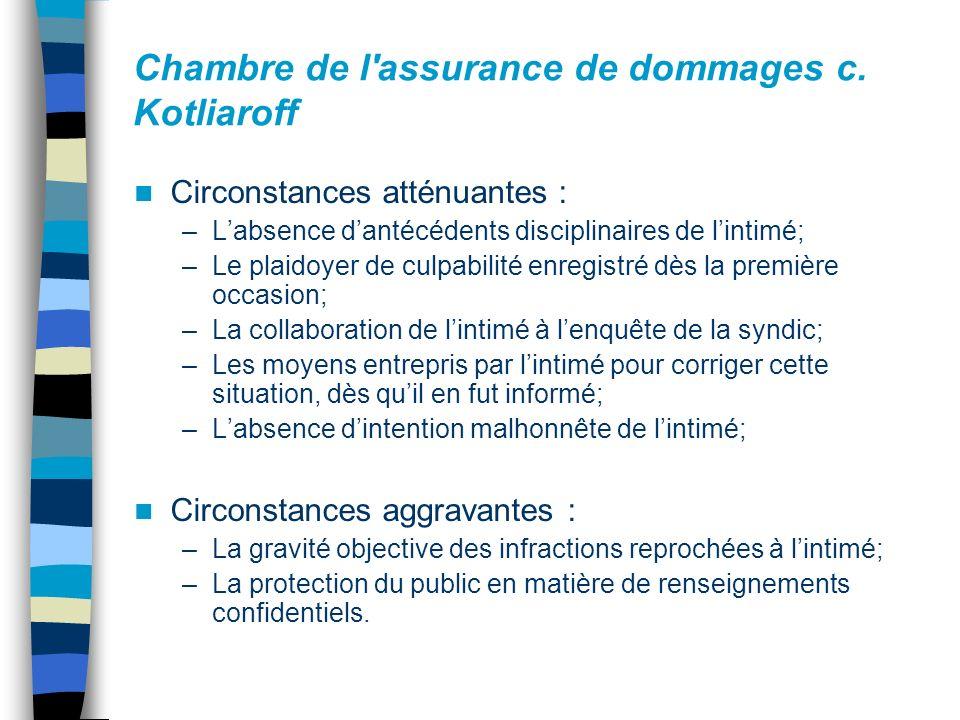 Chambre de l'assurance de dommages c. Kotliaroff Circonstances atténuantes : –Labsence dantécédents disciplinaires de lintimé; –Le plaidoyer de culpab