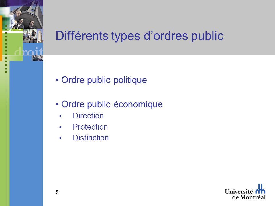 5 Différents types dordres public Ordre public politique Ordre public économique Direction Protection Distinction