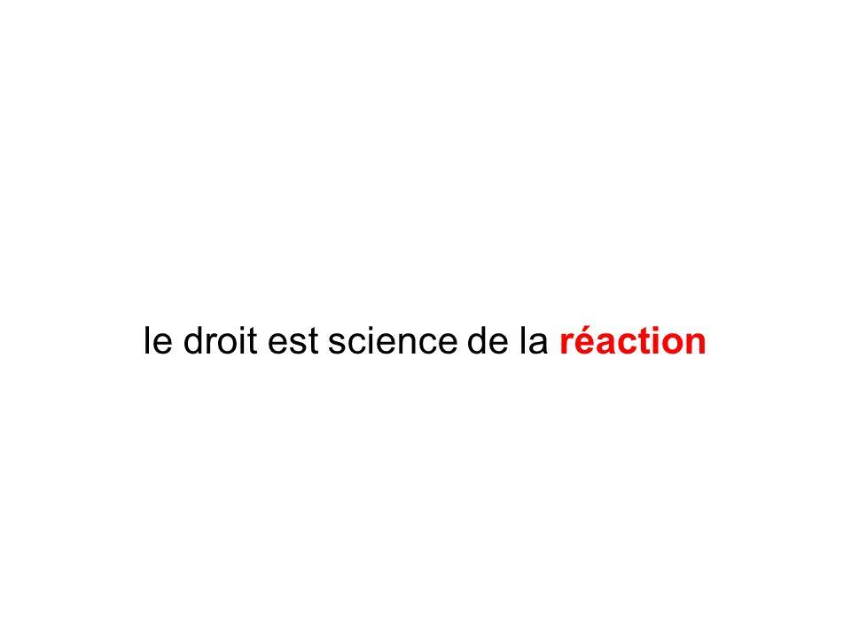 le droit est science de la réaction