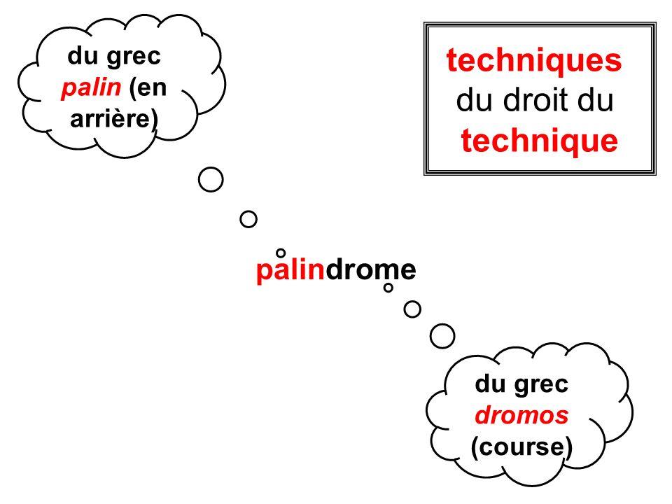 palindrome du grec palin (en arrière) du grec dromos (course) techniques du droit du technique