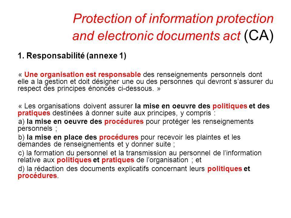 Protection of information protection and electronic documents act (CA) 1.