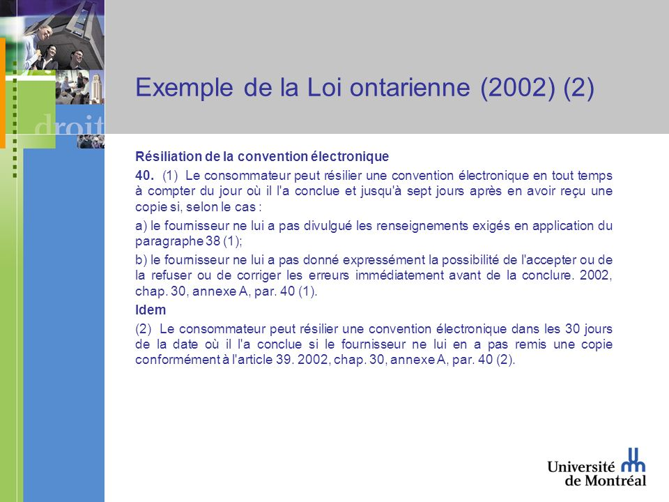 Exemple de la Loi ontarienne (2002) (2) Résiliation de la convention électronique 40.