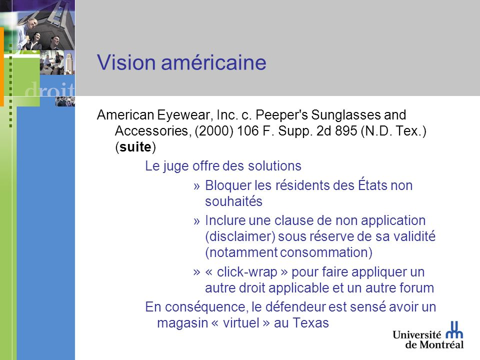 Vision américaine American Eyewear, Inc. c. Peeper s Sunglasses and Accessories, (2000) 106 F.