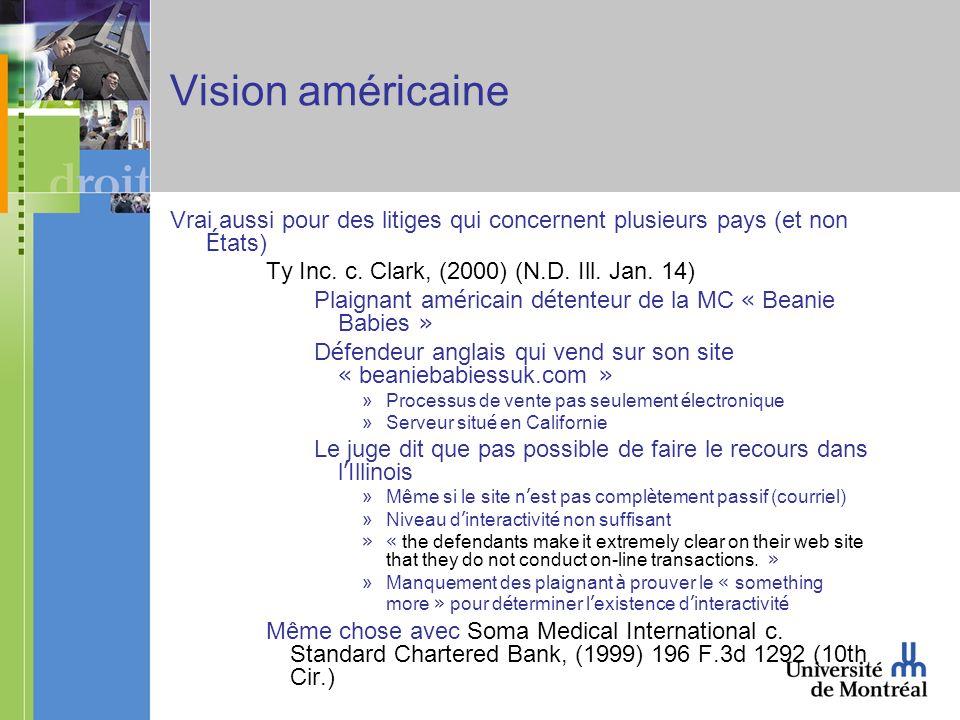 Vision américaine Vrai aussi pour des litiges qui concernent plusieurs pays (et non É tats) Ty Inc.