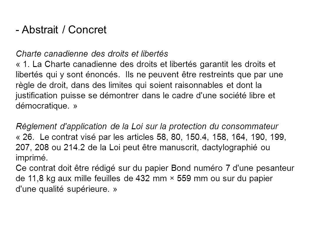 - Abstrait / Concret Charte canadienne des droits et libertés « 1.