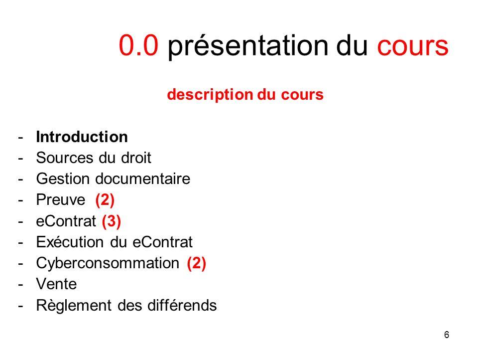 7 1.0 intro Présentation du cours 1 -définitions des TI (1.1) -est-ce que le droit des TI est différent .