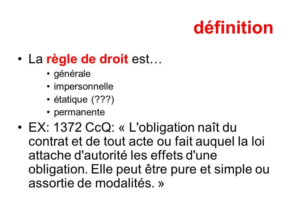 définition La règle de droit est… générale impersonnelle étatique (???) permanente EX: 1372 CcQ: « L'obligation naît du contrat et de tout acte ou fai