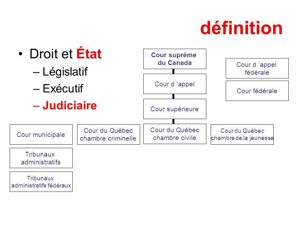 définition Droit et État –Législatif –Exécutif –Judiciaire Cour suprême du Canada Cour d appel Cour municipale Cour du Québec chambre criminelle Cour