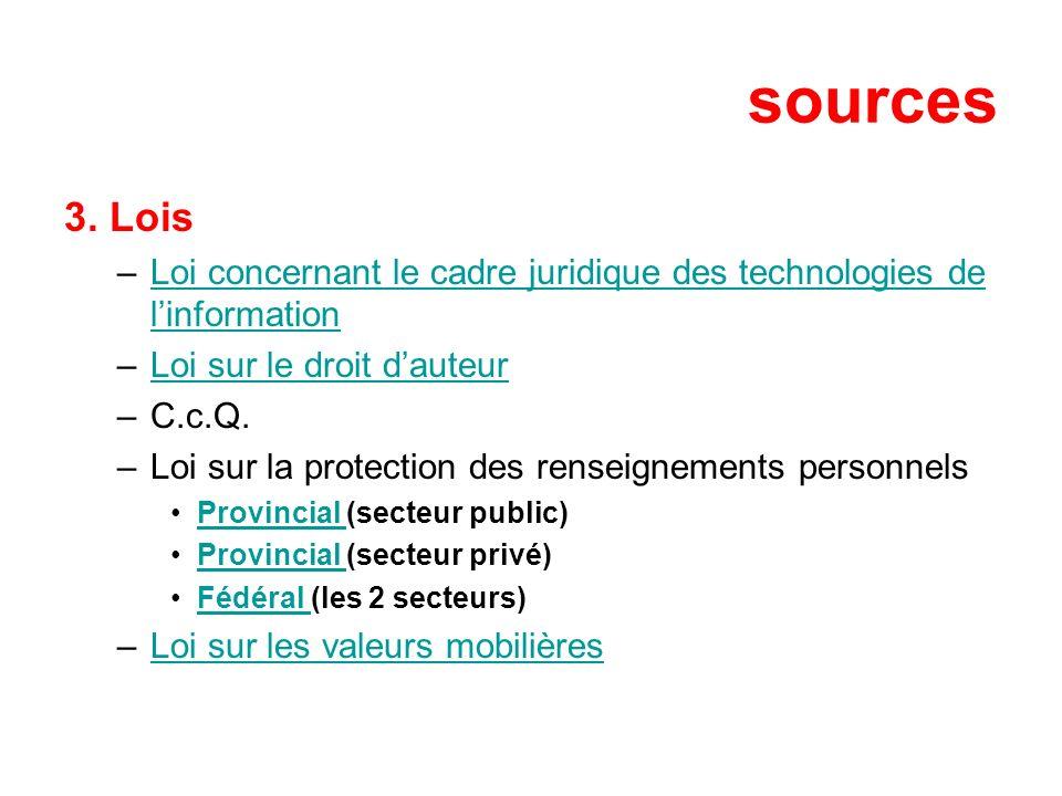 sources 3. Lois –Loi concernant le cadre juridique des technologies de linformationLoi concernant le cadre juridique des technologies de linformation