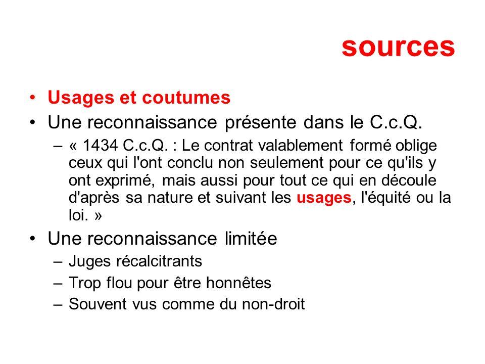 sources Usages et coutumes Une reconnaissance présente dans le C.c.Q. –« 1434 C.c.Q. : Le contrat valablement formé oblige ceux qui l'ont conclu non s