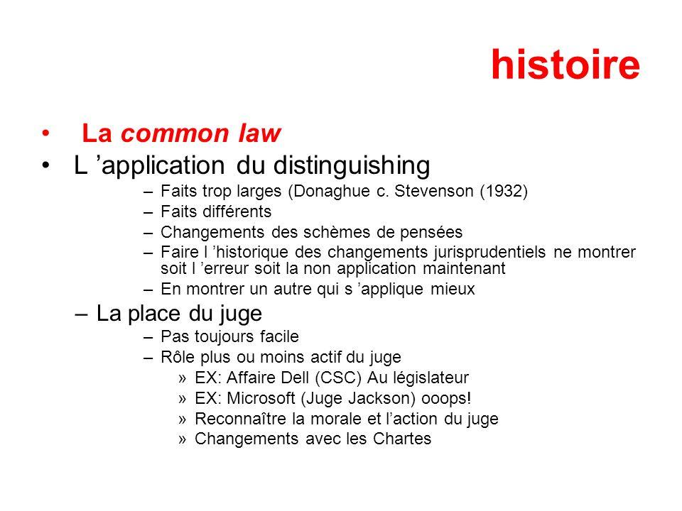 histoire La common law L application du distinguishing –Faits trop larges (Donaghue c. Stevenson (1932) –Faits différents –Changements des schèmes de