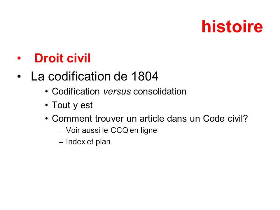 histoire Droit civil La codification de 1804 Codification versus consolidation Tout y est Comment trouver un article dans un Code civil? –Voir aussi l