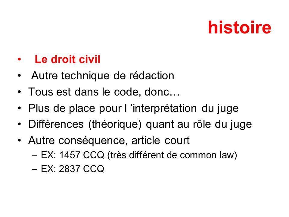histoire Le droit civil Autre technique de rédaction Tous est dans le code, donc… Plus de place pour l interprétation du juge Différences (théorique)
