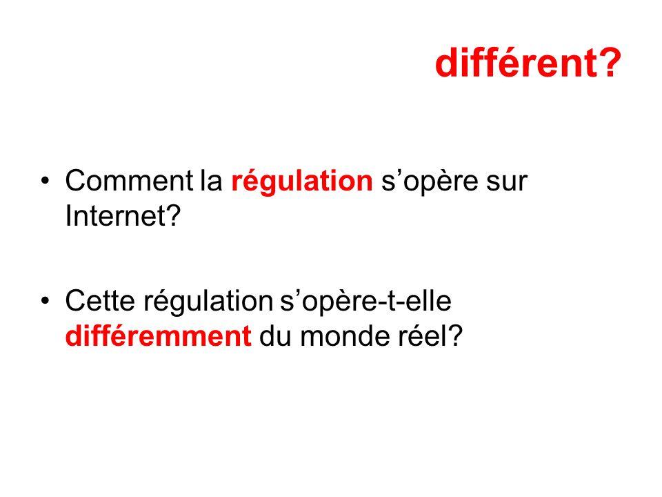 différent? Comment la régulation sopère sur Internet? Cette régulation sopère-t-elle différemment du monde réel?