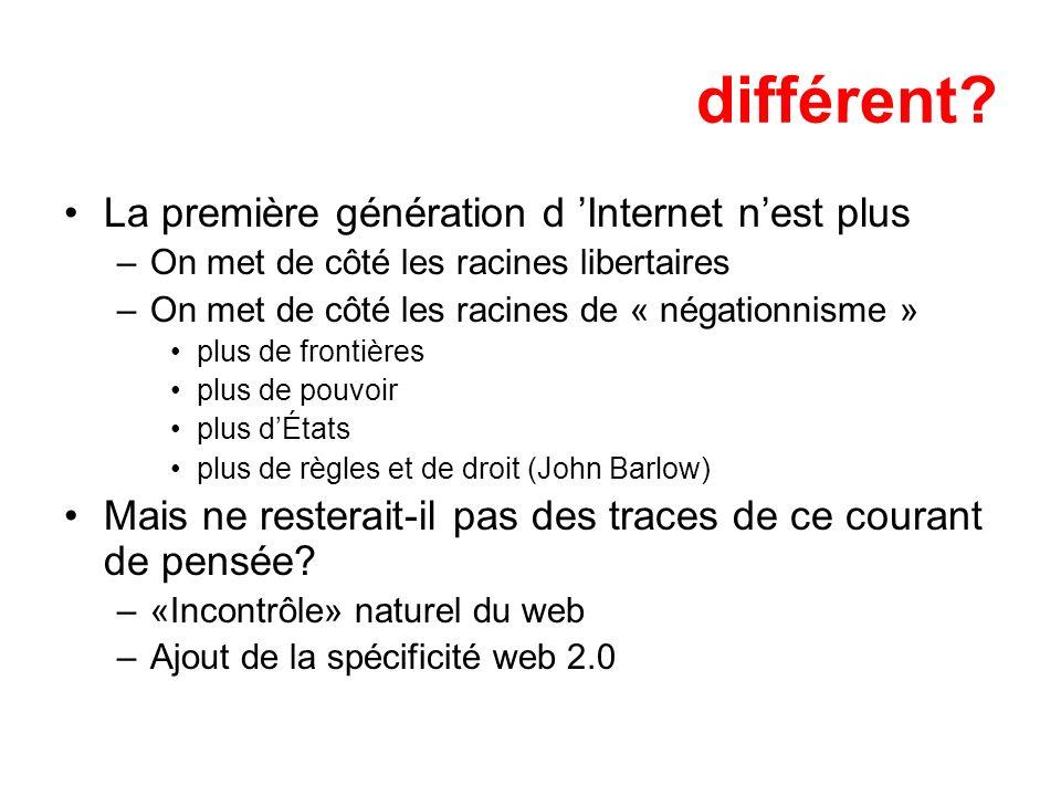 différent? La première génération d Internet nest plus –On met de côté les racines libertaires –On met de côté les racines de « négationnisme » plus d