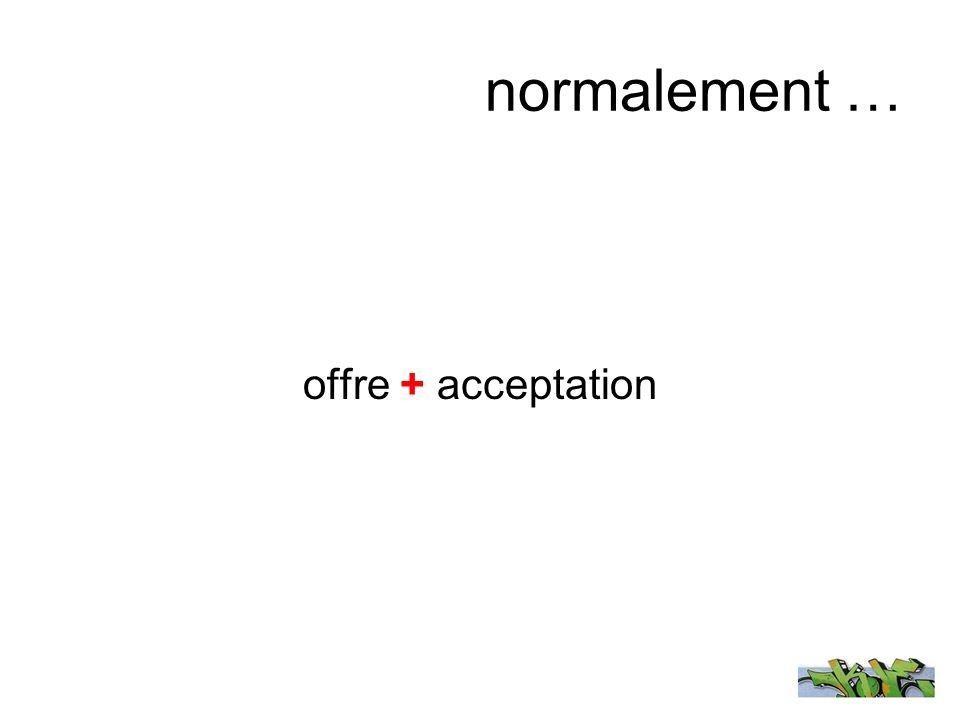 normalement … offre + acceptation