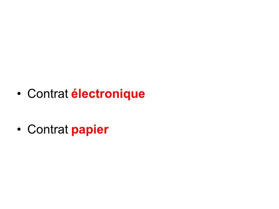 Contrat électronique Contrat papier