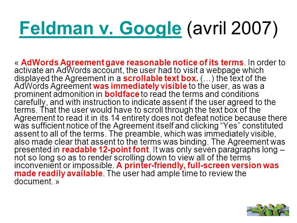 Feldman v. GoogleFeldman v.