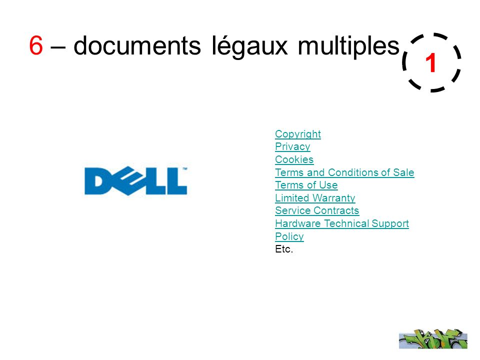 6 – documents légaux multiples Copyright Privacy Cookies Terms and Conditions of Sale Terms of Use Limited Warranty Service Contracts Hardware Technical Support Policy Etc.