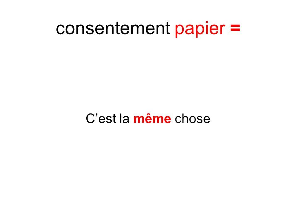 consentement papier = Cest la même chose