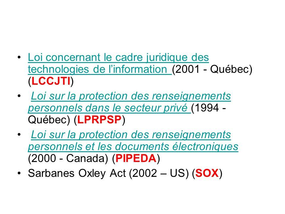 Loi concernant le cadre juridique des technologies de linformation (2001 - Québec) (LCCJTI)Loi concernant le cadre juridique des technologies de linfo