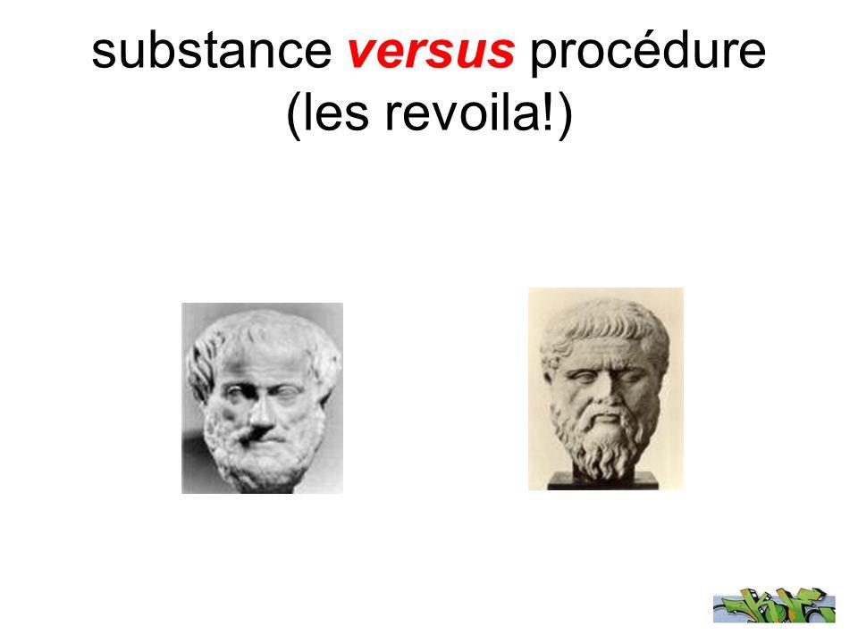 substance versus procédure (les revoila!)