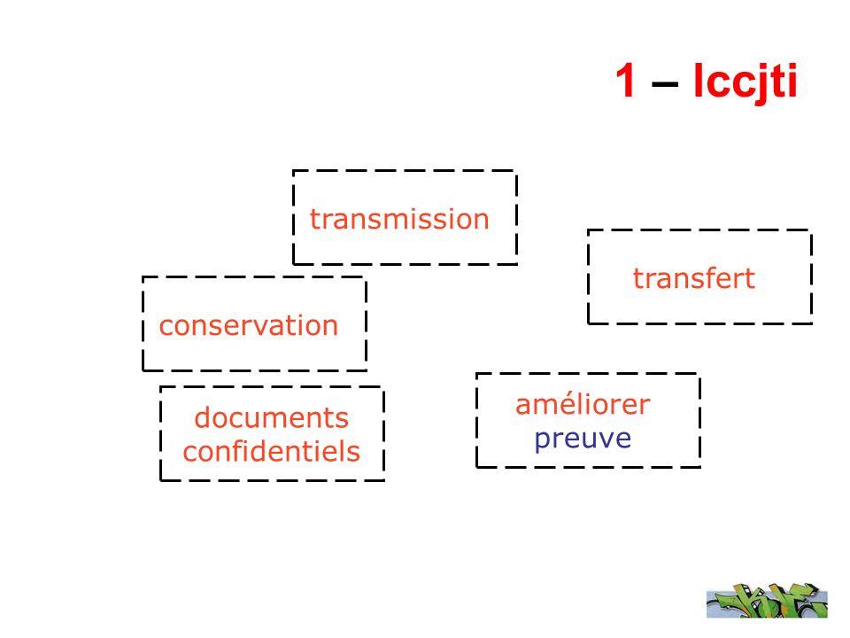 1 – lccjti transmission documents confidentiels conservation transfert améliorer preuve