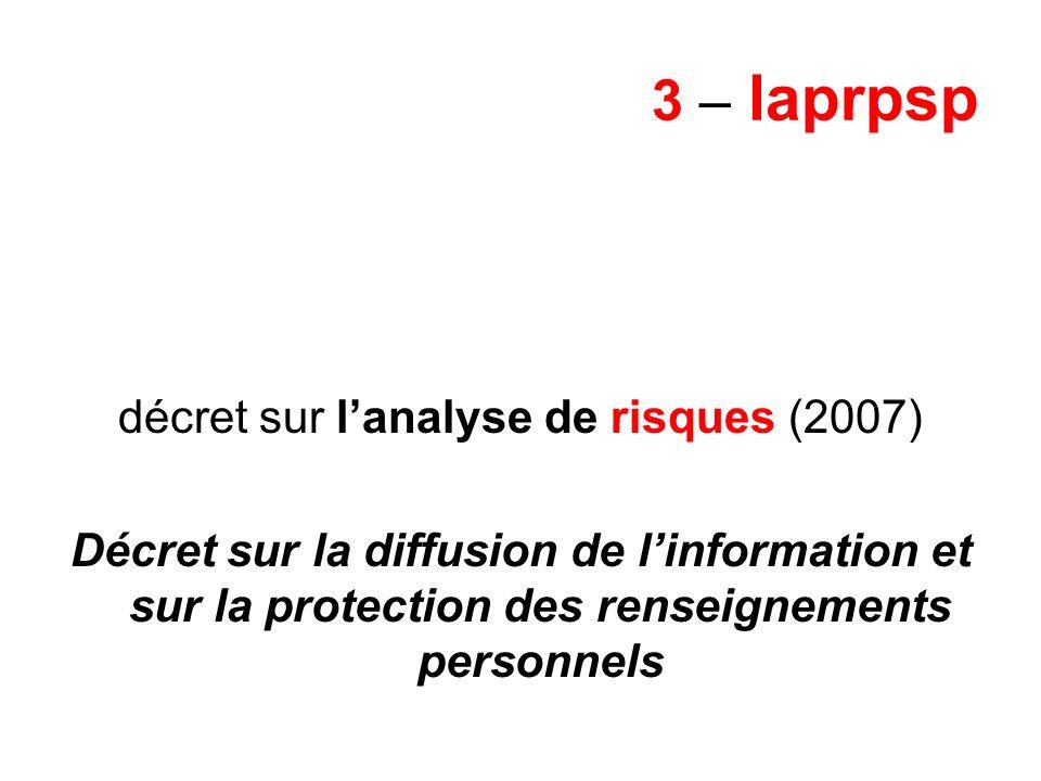 3 – laprpsp décret sur lanalyse de risques (2007) Décret sur la diffusion de linformation et sur la protection des renseignements personnels