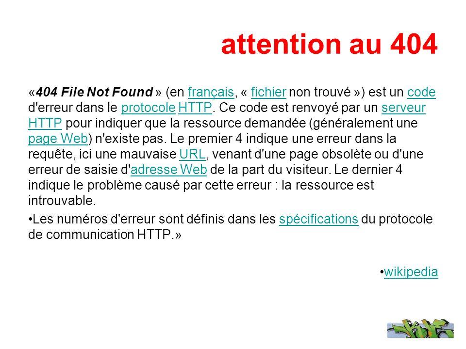 attention au 404 «404 File Not Found » (en français, « fichier non trouvé ») est un code d'erreur dans le protocole HTTP. Ce code est renvoyé par un s