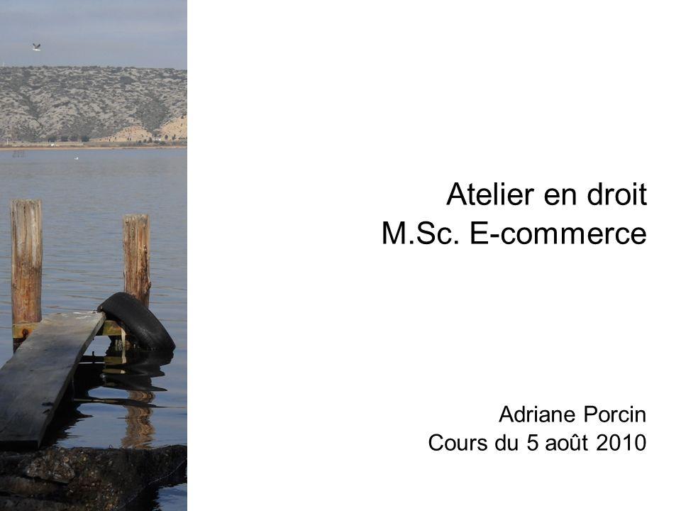 Atelier en droit M.Sc. E-commerce Adriane Porcin Cours du 5 août 2010