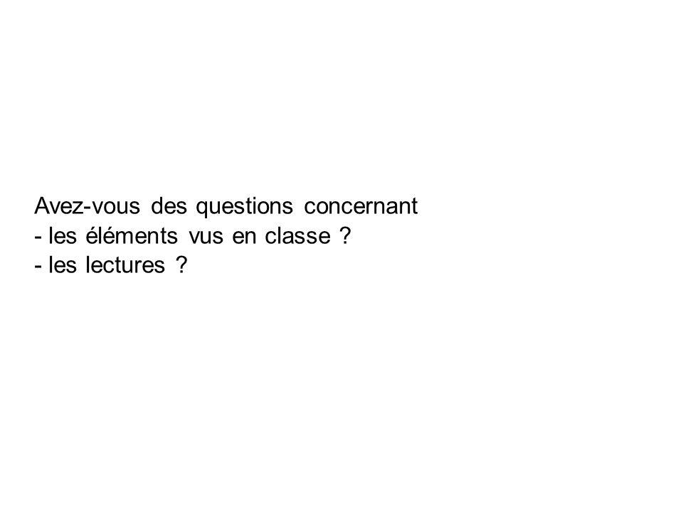 Avez-vous des questions concernant - les éléments vus en classe - les lectures