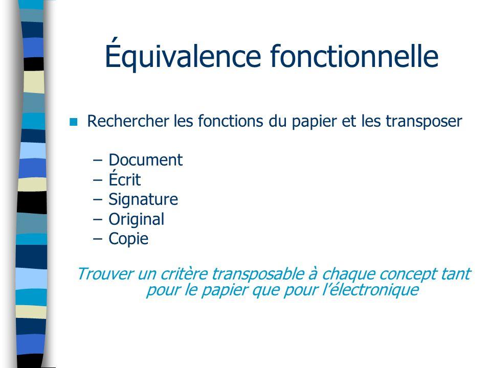 Équivalence fonctionnelle Rechercher les fonctions du papier et les transposer –Document –Écrit –Signature –Original –Copie Trouver un critère transposable à chaque concept tant pour le papier que pour lélectronique